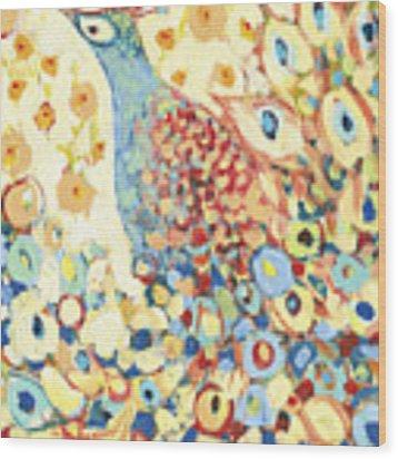 Peacock Hiding In My Poppy Garden Wood Print by Jennifer Lommers