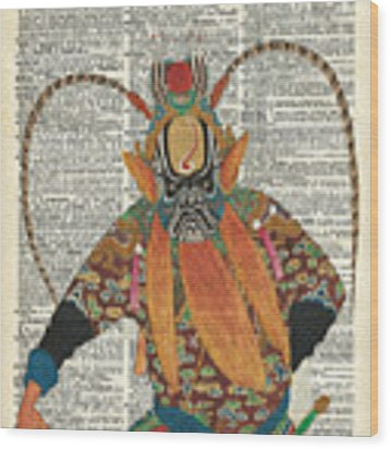 Pekin Opera Chinese Costume Over A Old Dictionary Page Wood Print by Anna W