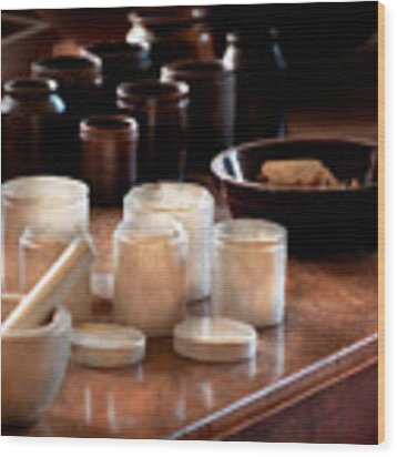 Pharmacist - Pestle And Cups Wood Print