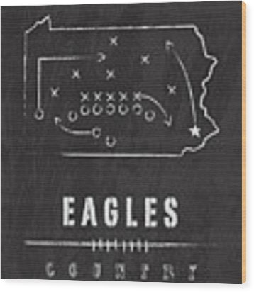 Philadelphia Eagles Art - Nfl Football Wall Print Country Wood Print by Damon Gray