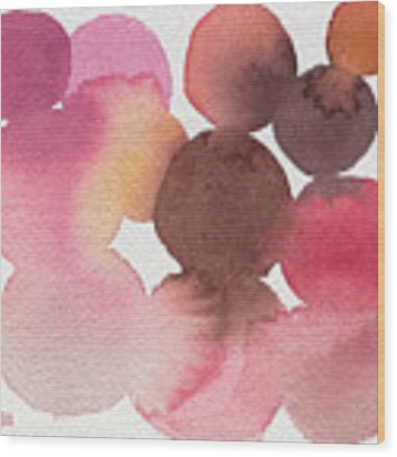 Pink Brown Coral Abstract Watercolor Wood Print by Beverly Brown