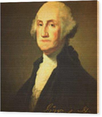 President George Washington Portrait And Signature Wood Print