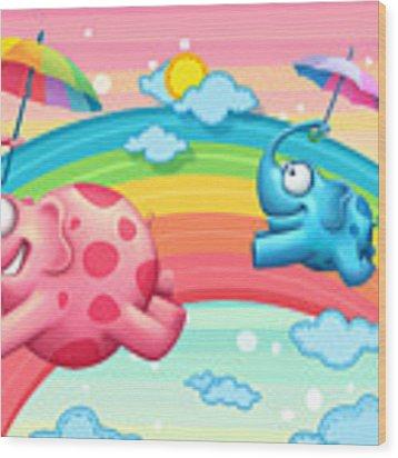 Rainbow Elephants Wood Print by Tooshtoosh