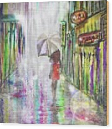 Rainy Paris Day Wood Print by Darren Cannell