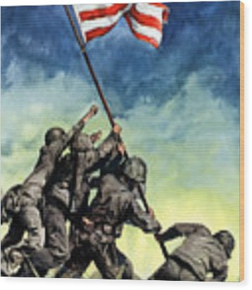 Raising The Flag On Iwo Jima Wood Print