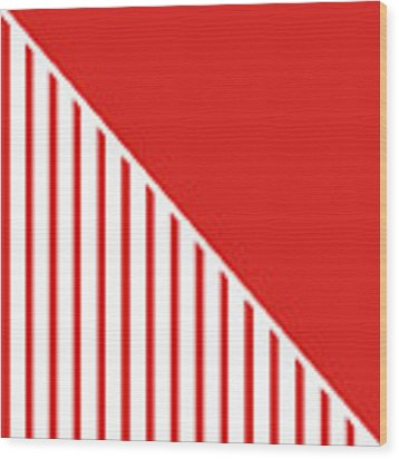 Red And White Triangles Wood Print by Linda Woods