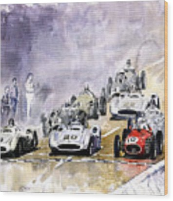 1954 Red Car Maserati 250 France Gp Wood Print by Yuriy Shevchuk