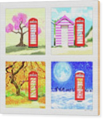 Red Telephone Box - British Seasons Wood Print by Mark Tisdale