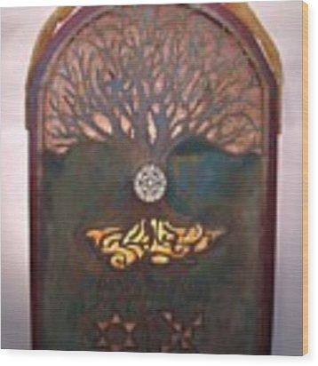 Runes For Restoration Illuminated Wood Print by Shahna Lax