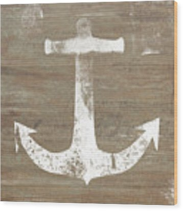 Rustic White Anchor- Art By Linda Woods Wood Print