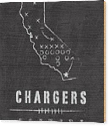 San Diego Chargers Art - Nfl Football Wall Print Wood Print by Damon Gray