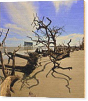 Sand Sun Beach And Little Blue Wood Print by Lisa Wooten