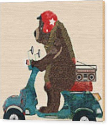Scooter Bear Wood Print by Bri Buckley