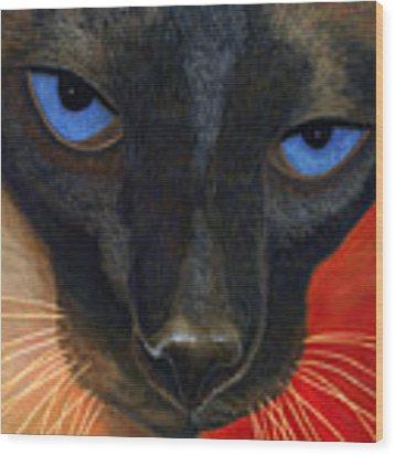 Siamese Wood Print by Karen Zuk Rosenblatt