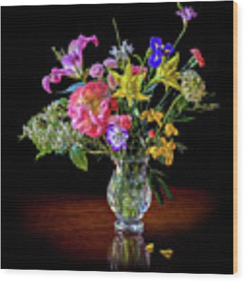 Spring Flowers In A Crystal Vase Wood Print by Endre Balogh