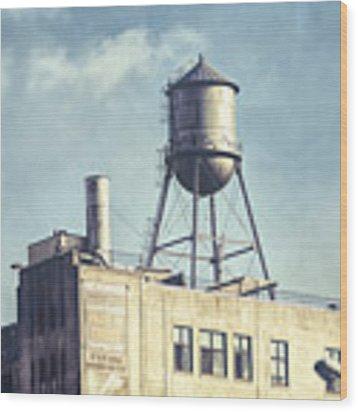 Steel Water Tower, Brooklyn New York Wood Print by Gary Heller