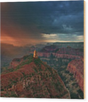 Storm Clouds North Rim Grand Canyon Arizona Wood Print by Dave Welling