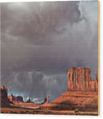 Storm Over Monument Valley Wood Print by Wesley Aston