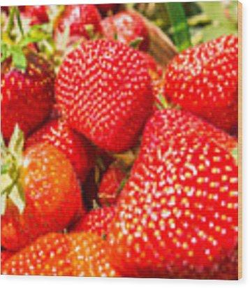 Strawberries In Natural Background Wood Print by Alex Grichenko
