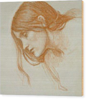 Study Of A Girls Head Wood Print