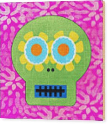 Sugar Skull Green And Pink Wood Print