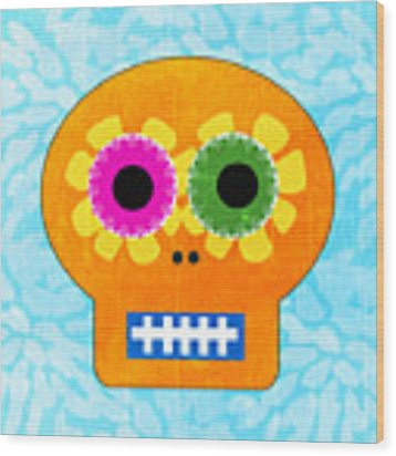 Sugar Skull Orange And Blue Wood Print