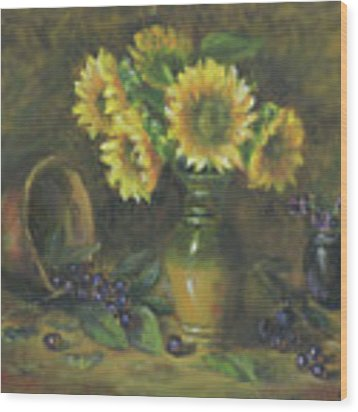 Sunflowers Wood Print by Katalin Luczay