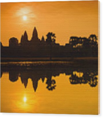Sunrise At Angkor Wat Wood Print by Yew Kwang