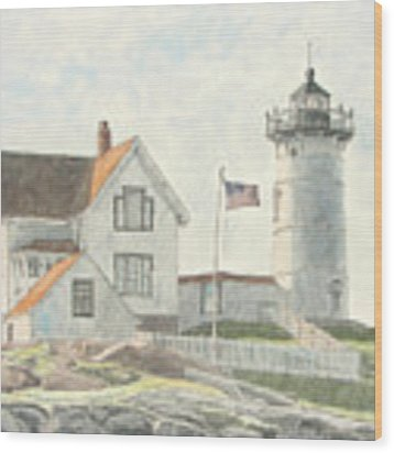 Sunrise At Nubble Light Wood Print by Dominic White