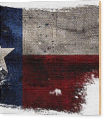 Tattered Lone Star Flag Wood Print by Jon Neidert