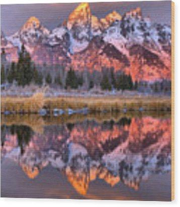 Teton Sunrise Spectacular Wood Print by Adam Jewell
