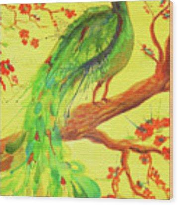 The Auspicious Peacock Wood Print by Angelique Bowman