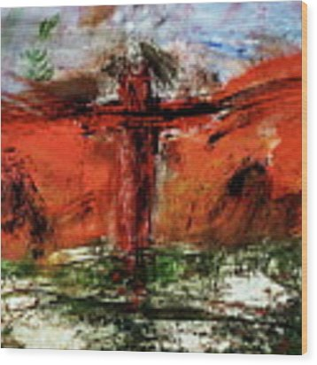 The Crucifixion #1 Wood Print by Michael Lucarelli