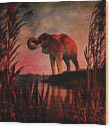 The Drinking Elephant Wood Print by Jan Keteleer