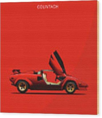 The Lamborghini Countach Wood Print by Mark Rogan