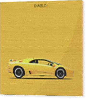 The Lamborghini Diablo Wood Print by Mark Rogan