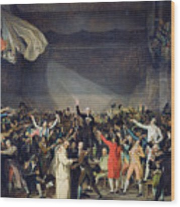 The Tennis Court Oath Wood Print by Jacques Louis David