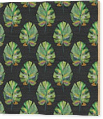 Tropical Leaves On Black- Art By Linda Woods Wood Print by Linda Woods