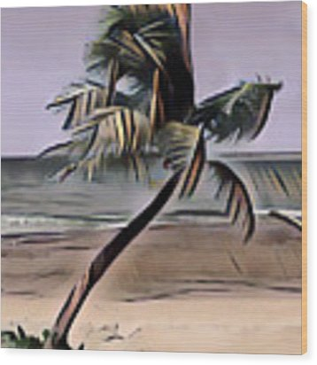 Tropical Seascape Digital Art A7717  Wood Print by Mas Art Studio