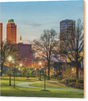 Tulsa Night City Skyline - Centennial Park Cityscape Wood Print by Gregory Ballos