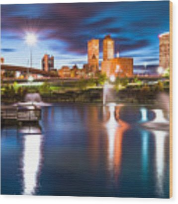 Tulsa On The Water Wood Print by Gregory Ballos