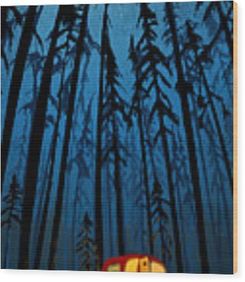 Twilight Camping Wood Print