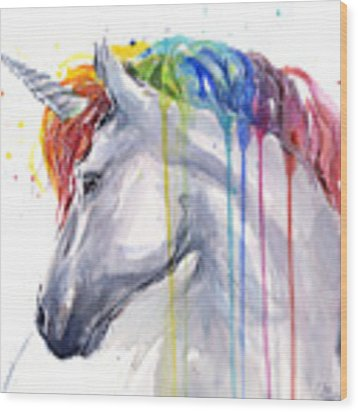 Unicorn Rainbow Watercolor Wood Print