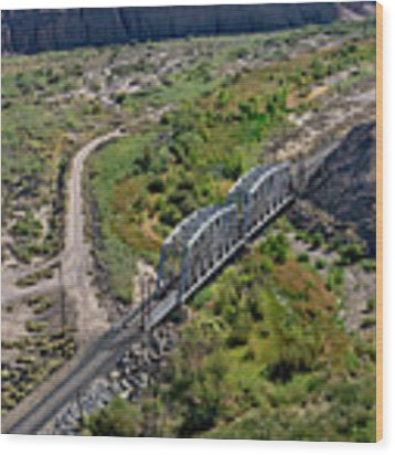 Up Tracks Cross The Mojave River Wood Print by Jim Thompson