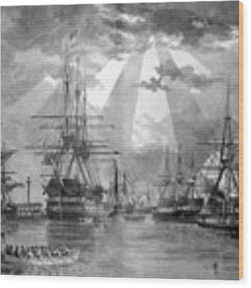 U.s. Naval Ships At The Brooklyn Navy Yard Wood Print