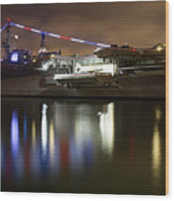 Uss Midway At Night Wood Print by Nathan Rupert