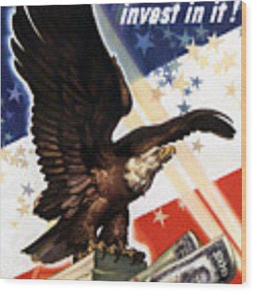 Victory Loan Bald Eagle Wood Print