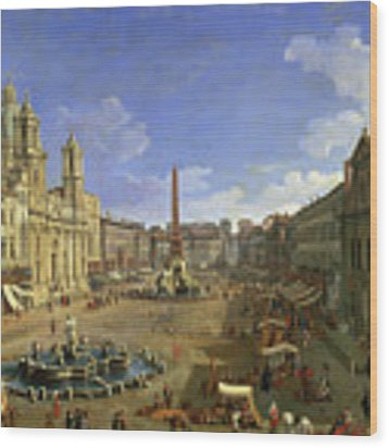 View Of The Piazza Navona Wood Print