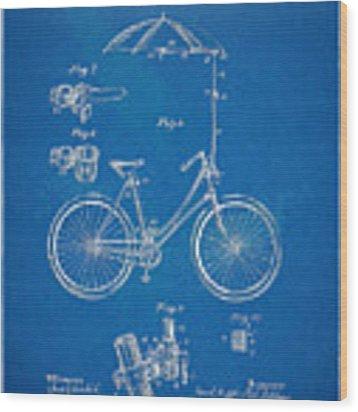 Vintage Bicycle Parasol Patent Artwork 1896 Wood Print