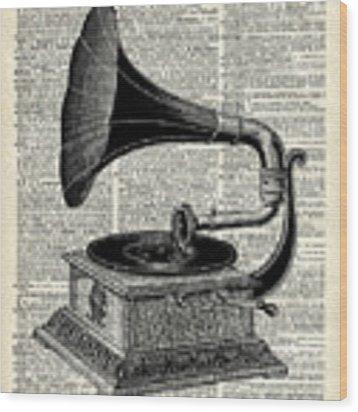 Vintage Gramophone Wood Print by Anna W